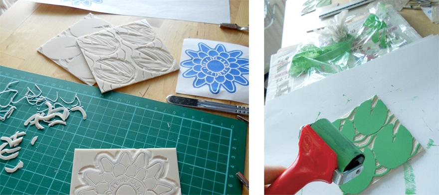 Linosnijden en drukken van de print met waterlelies.